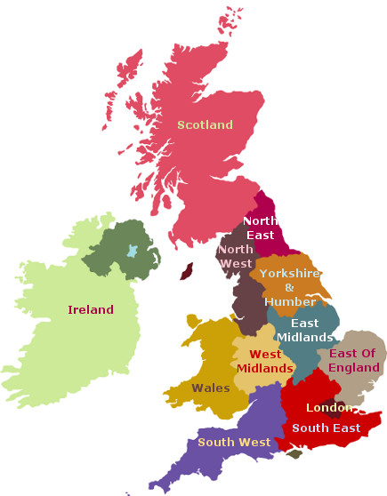 Map Of Uk With Regions.Afternoon Tea In The Uk Ireland