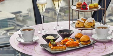 Full Afternoon Tea set up at HELIX by Searcys at The Gherkin