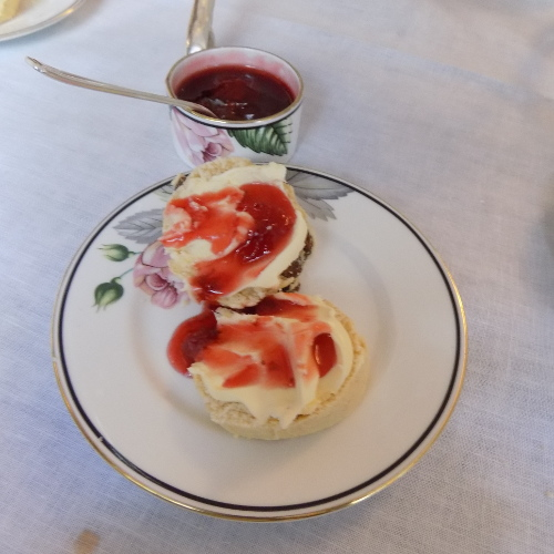 scones and jam on stand